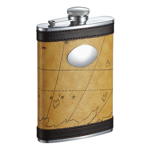Visol Globe Yellow and Brown Pattern Liquor Flask - 8 ounces
