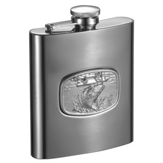 Visol Bass Fishing Embossed Stainless Steel Liquor Flask - 8 ounces