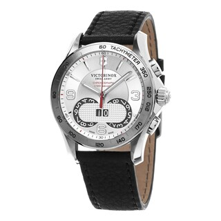 Swiss Army Men's 241703 'Chrono Classic' Silver Dial Black Leather Swiss Quartz Watch