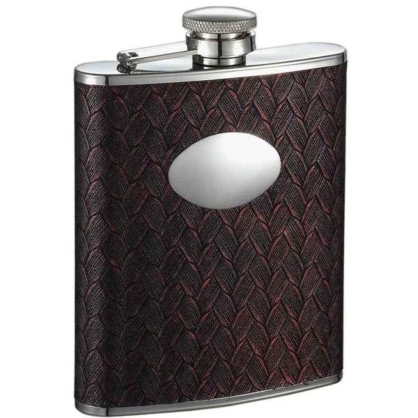 Visol Zandor Red and Black Weave Pattern Liquor Flask - 6 ounces