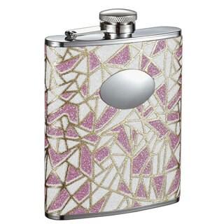Visol Decadence Pink & White Glitter Liquor Flask - 6 ounces