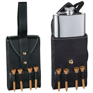 Visol Puck Liquor Flask with Black Leather Wrap and Golf Tees - 6 ounces