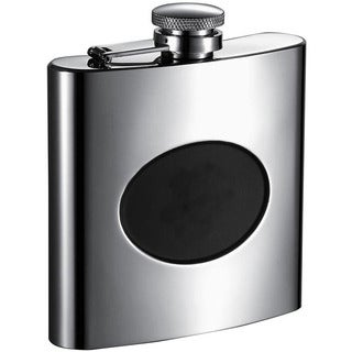 Visol Romare Polished Liquor Flask with Black Engraving Plate - 6 ounces