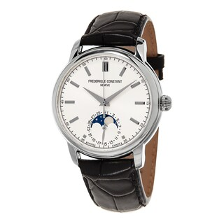 Frederique Constant Men's FC-715S4H6 'Classics' Silver Dial Black Leather Strap Moon phase Swiss Automatic Watch