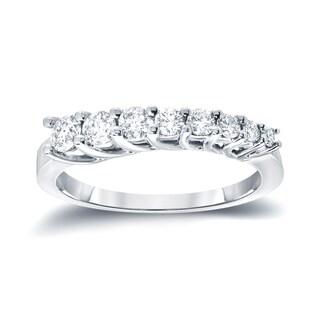 Auriya 14k White Gold 1/4ct TDW Round-Cut Diamond Journey Ring (H-I, I1-I2)