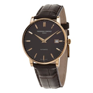 Frederique Constant Men's FC-316C5B9 'Slim Line' Brown Dial Brown Leather Strap Swiss Automatic Watc