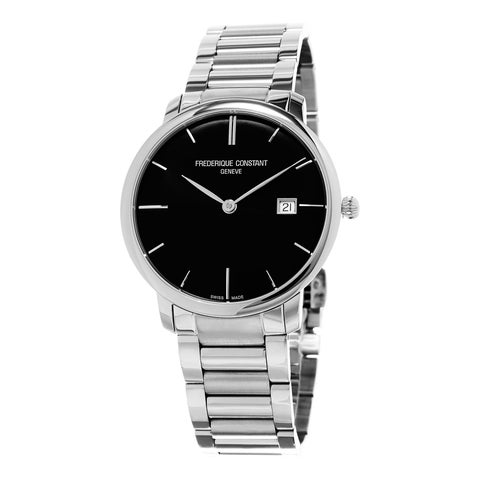 Frederique Constant Men's 'Slim Line' Black Dial Stainless Steel Swiss Automatic Watch