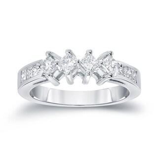 Auriya 14k White Gold 1ct TDW Princess-Cut Diamond Wedding Band (G-H, SI1-SI2)