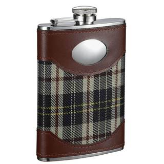 Visol Theodore Leather & Green Plaid Liquor Flask - 8 ounces