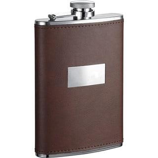 Visol Alcide Brown Leather Liquor Flask - 8 ounces