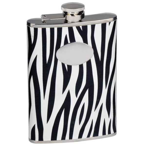Visol Zebra Black & White Leather Liquor Flask - 8 ounces - Black/White