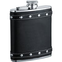 Visol Rocker X Black Leather Studded Liquor Flask - 6 ounces