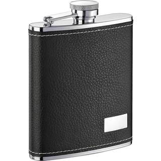 Visol Eclipse S Black Leather Liquor Flask - 6 ounces