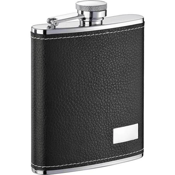 Visol Eclipse S Black Leather Liquor Flask - 6 ounces