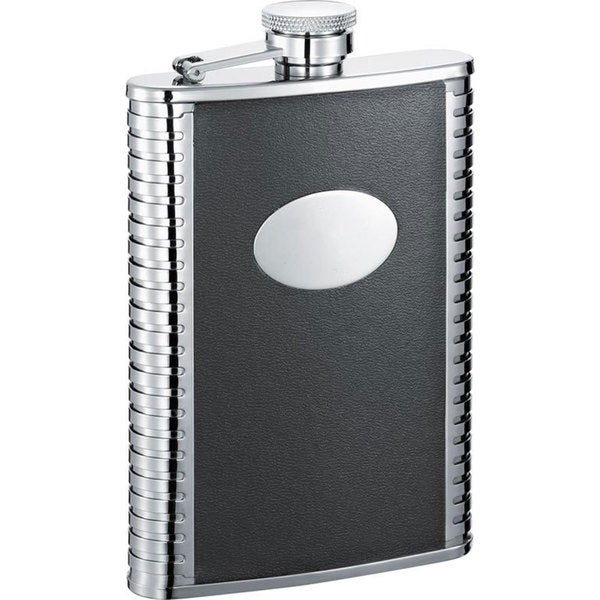 Visol Tux Black Leather and Stainless Steel Liquor Flask - 8 ounces