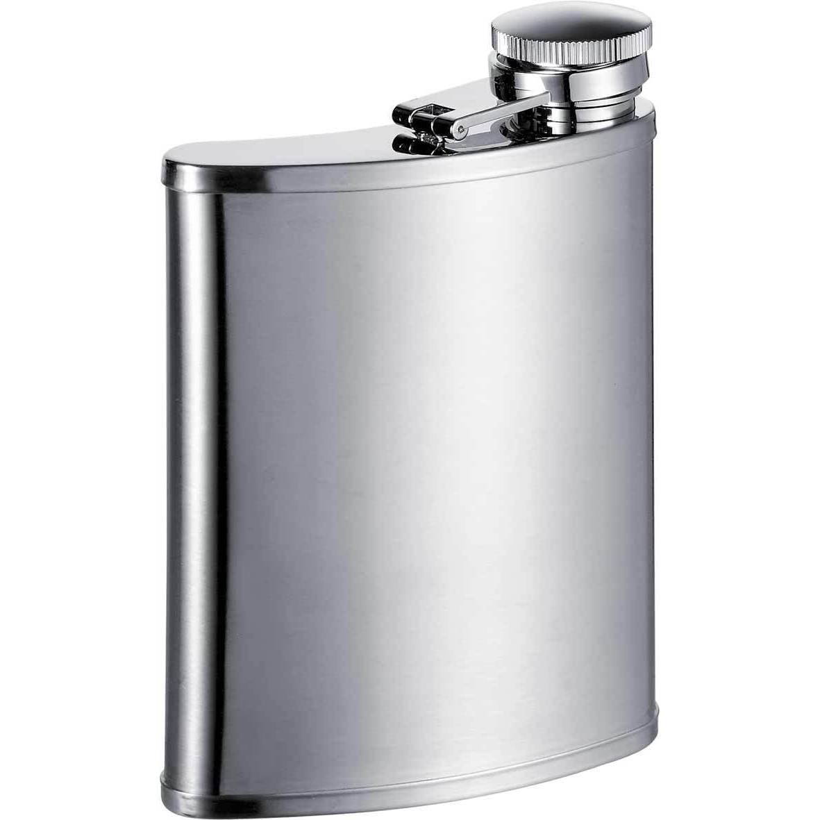 Visol Bass Wide Mouth Satin Liquor Flask - 7 ounces (Silv...