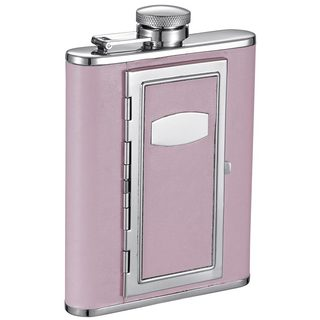 Visol Fiore Pink Liquor Flask with Built-In Cigarette Case - 6 ounces