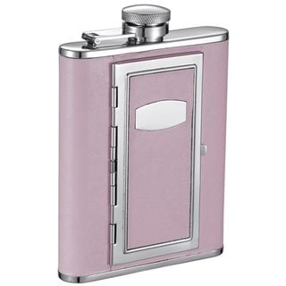 Link to Visol Fiore Pink Liquor Flask with Built-In Cigarette Case - 6 ounces Similar Items in Glasses & Barware