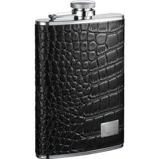 Visol Gator Black Textured Leather Liquor Flask - 8 ounces