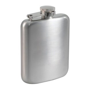 Visol Podova Satin Stainless Steel Liquor Flask - 6 ounces - Silver