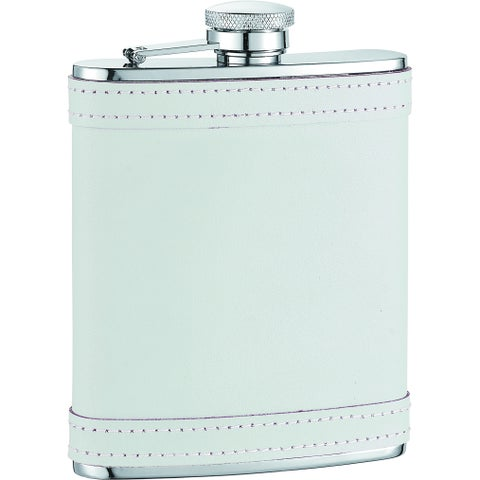 Visol Cloud X White Leather with stitch Liquor Flask - 6 ounces