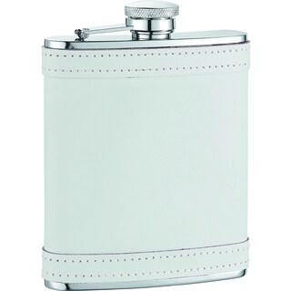 Visol Cloud X White Leather with stitch Liquor Flask - 6 ounces