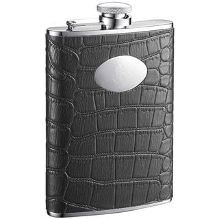 Visol Noir Black Crocodile Leather Liquor Flask - 8 ounces