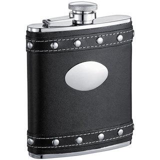 Visol Rocker Black Leather Studded Liquor Flask - 6 ounces