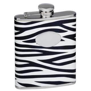 Visol Zebra Black & White Leather Liquor Flask - 6 ounces