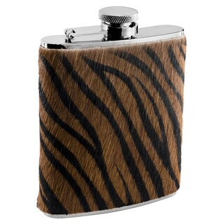 Visol Bengal X Synthetic Tiger Pattern Calf Hair Liquor Flask - 6 ounces