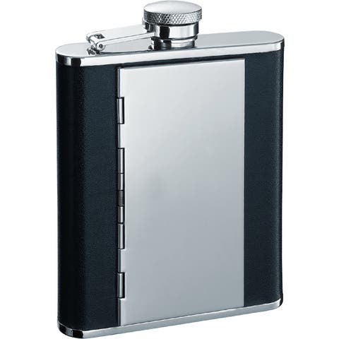 Visol Pierre Black Flask with Built-in Cigarette Case - 6 ounce