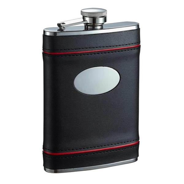 Visol Rouge en Noir Black and Red Liquor Flask - 8 ounces