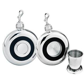 Visol Corporal Built-in Collapsible Shot Cup Round Liquor Flask - 8 ounces