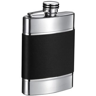 Visol Wickeln Black and Brushed Metal Liquor Flask - 6 ounces