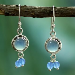 Handcrafted Sterling Silver 'Sky Dancer' Chalcedony Earrings (India)