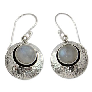 Sterling Silver 'Intuitive Moon' Moonstone Earrings (India)