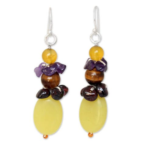 Handmade Multi-gemstone 'Cool Beauty' Earrings (Thailand)