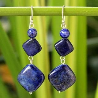 Sterling Silver 'Forever Blue' Lapis Lazuli Earrings (Thailand)