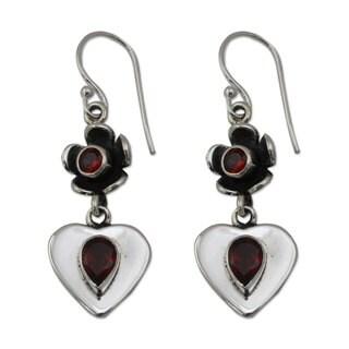 Handmade Sterling Silver 'Love's Bouquet' Garnet Earrings (India)