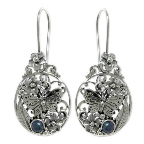 Handmade Silver Frangipani Butterfly Pearl Earrings (Indonesia)