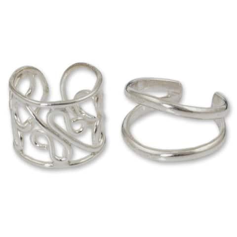 Handmade Sterling Silver Sleek Filigree Cuff Earrings