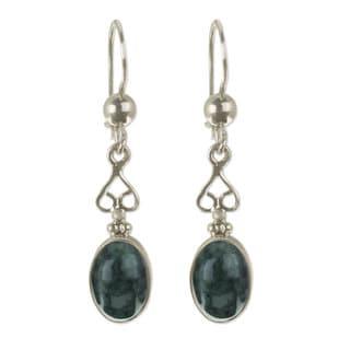 Handcrafted Sterling Silver 'Love Poem' Jade Earrings (Guatemala)