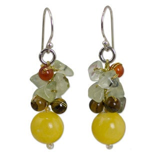Handmade Sterling Silver 'Sweet Sunshine' Multi-gemstone Earrings (Thailand)