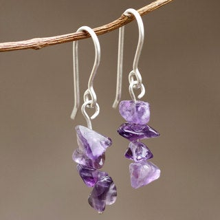 Handcrafted Sterling Silver 'Nature's Wisdom' Amethyst Earrings (Peru)