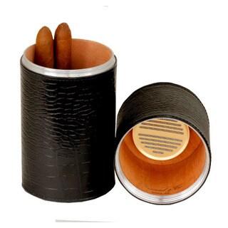 Brizard & Co Croco Black Leather Cylinder Desktop Humidor