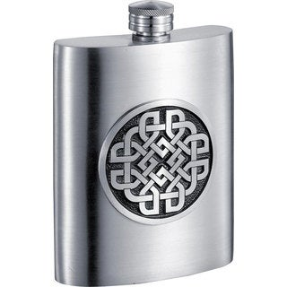 Visol Aragon Celtic Design Pewter Liquor Flask - 6 ounces