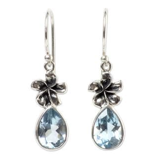 Handcrafted Sterling Silver 'Plumeria Dew' Topaz Earrings (Indonesia)