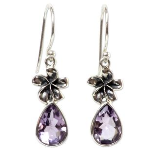 Sterling Silver 'Plumeria Dew' Amethyst Earrings (Indonesia)
