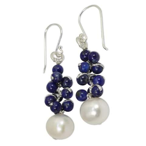Handmade Sterling Silver 'Blue Sonata' Lapis Pearl Earrings (9 mm) (Thailand)