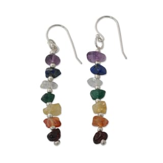 Handcrafted Sterling Silver 'Rejoice' Multi-gemstone Earrings (India)